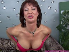 Mature brunette Vanessa Videl gives a hot blowjob to some guy