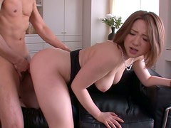 Fuckable Japanese babe Alice Ozawa gets banged in doggy style while giving blowjob