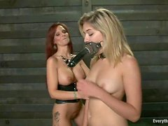 Lesbian BDSM sex with two hot divas Lia and Syren De Mer