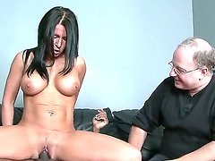 Black haired Kendra Secret with big fake tits and cheep heavy make up gets licked by