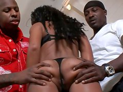 Slutty ebony gal Amber Steel rides and sucks black dicks during MMF session