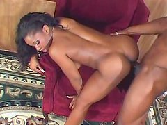 Sweet ebony is fucking and swallowing sperm