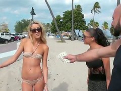BBW blonde beach chick shows her knockers on cam for money