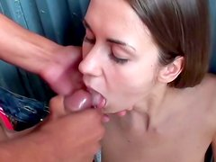 Sweet babe is eating sperm for cash