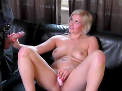 Chubby blonde Natalie fuck at the casting