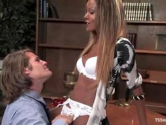 Hot Black tranny fucks a guy on a table in the office