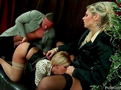 Two office babes in satin blouses fucked hardcore
