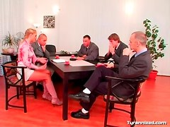 Everyone gets naked for mistress at board meeting