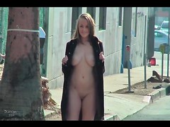 Big tits chick in overcoat flashing tits in public