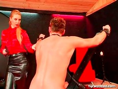 Mistress makes him ride toy and flogs him