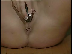 British slut Chantelle plays with herself in various scenes