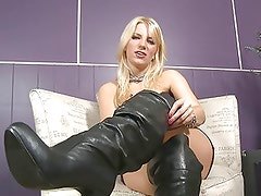 Ashley Fires hot blonde babe in black boots