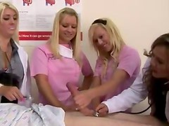 Cfnm nurse sluts get down for cock action at patient inspection