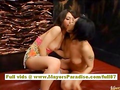 Maria and Yuka asian dolls fondle each others pussies