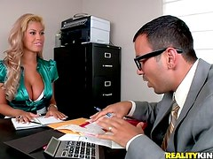 Big breasted Bridgette gets fucked deep in an office