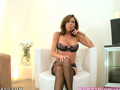 Luxury milf in lingerie is taking that cock with both hands and mouth
