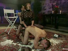 Lots of Strapon Action and Pegging in Bondage Femdom Threesome