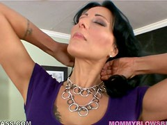 Perfect milf is giving a footjob and a blowjob