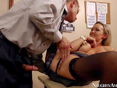 Gorgeous and lusty blonde secretary Abbey Brooks enjoy in getting
