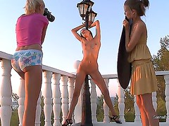 Slender young hotties Mia and Sasha with natural boobies and tight ass in high heels