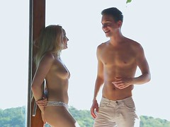 Romantic hot blond gal desires to give a footjob to her BF in the morning