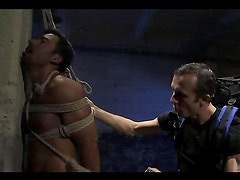 Gay hunks have fun torturring and penetrateing one another
