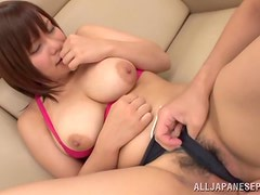 Big tittied Reina Uehara gets fucked in her mouth and pussy