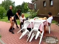 An outdoor meal has turned into a hardcore orgy