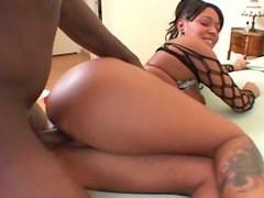 Bootylicious sexy black gal Cream gets her quim hammered doggy on bed