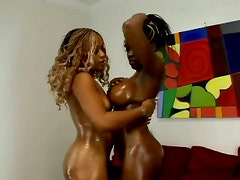 Oiled black bright lesbos Coco Pink and Yexes Dine are ready to tease cunts