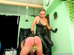 Leather mistress puts clamps on his cock and balls