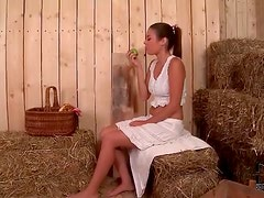 Babe in the barn sucks dick at gloryhole