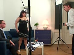 Chunky nymph is invited to photosession then dual bumped