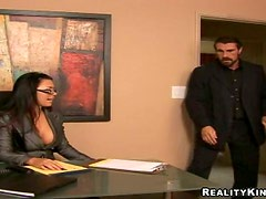 Eva Angelina plays with a prick and jumps on it ardently