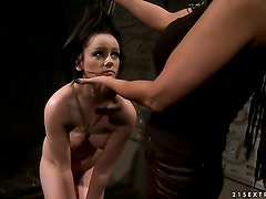 Brunette with big jugs learns more about lesbian