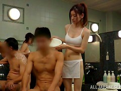 Japanese Beautician Wears Nothing Under Her Apron! No Wonder Her Client Gets A Boner!