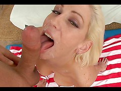 Horny Blonde Sucks A Big Cock Dry