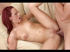 Horny Redhead Has Sex With Her Boyfriend On The Couch