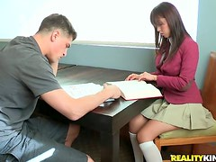 Horny Asian schoolgirl loves it doggy style