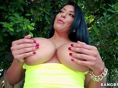 Black haired curvy milf Kiara Mia with gigantic firm hooters
