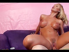 Horny Blonde Sucks And Fucks On A Big Cock