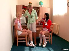 Cute lady teacher abused and bound by schoolgirls