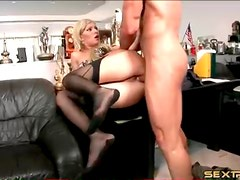 Secretary in stockings fucked in the asshole