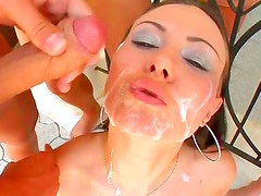Adorable babe gives long oral