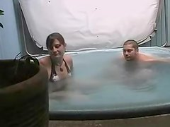 Flashing legal age teenager titties in the tub