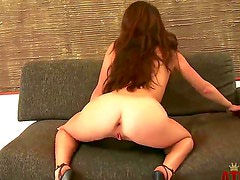 Tempting brunette Tiffany Doll with perfect ass and hot body teases and stuffs her pink