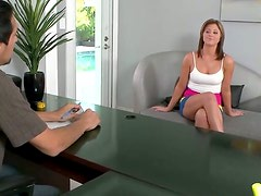 Slim horny blondie gets her tits measured to get a position in the office