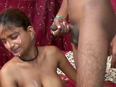 All natural Indian teen on her knees sucking dick