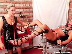 Clamps on the cunt of girl submitting to mistress
