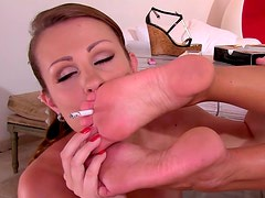 Desirable babes caress one another with their tender soles
